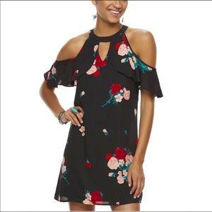 NWT Candie's M Flutter Cold Shoulder Floral Dress